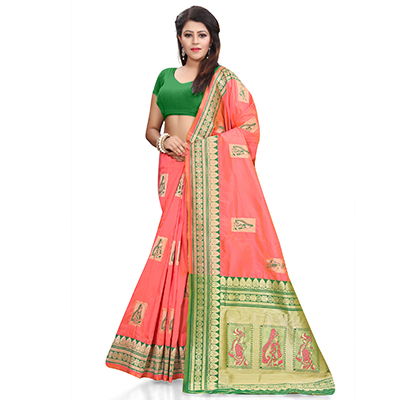 Regal Gajri Colored Designer Festive Wear Woven Banarasi Silk Saree