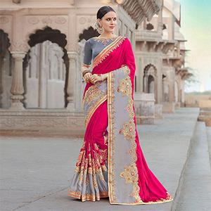 Elegant Pink-Grey Colored Designer Embroidered Festive Wear Georgette Silk Saree