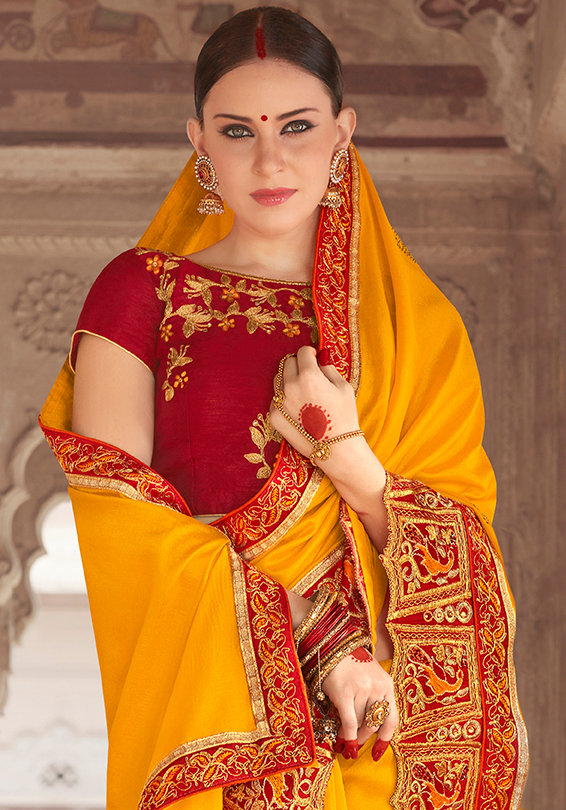 Flaunt Yellow Colored Designer Embroidered Festive Wear Georgette Silk Saree