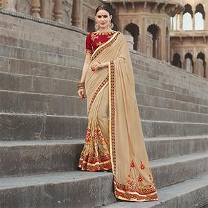 Stylish Chiku Colored Designer Embroidered Festive Wear Georgette Silk Saree