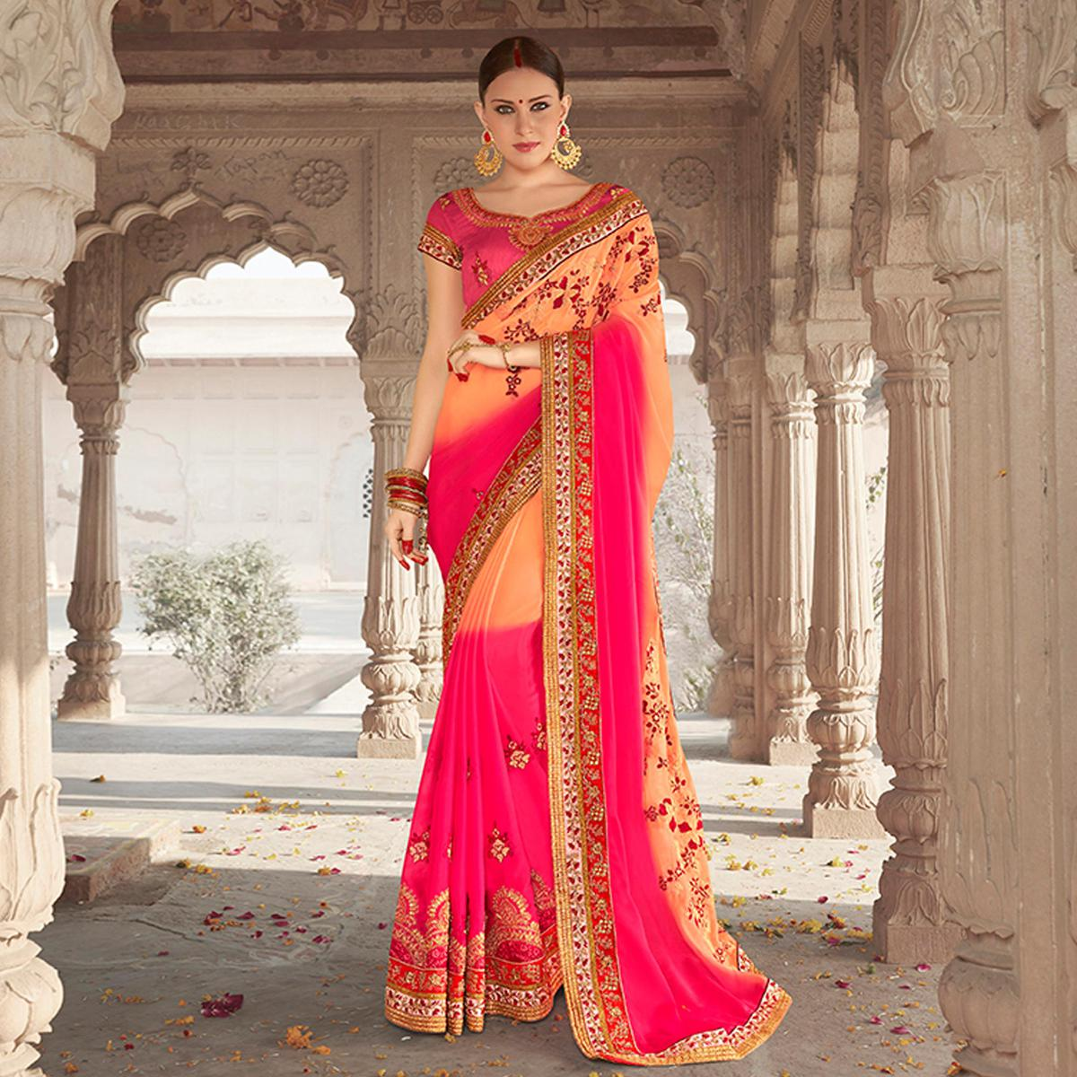 Classy Peach Colored Designer Embroidered Festive Wear Georgette Silk Saree