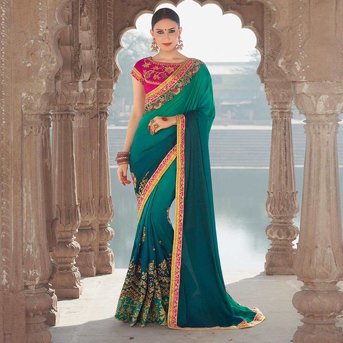 Fashionable Rama Colored Designer Embroidered Festive Wear Georgette Silk Saree