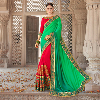 Stupendous Red-Green Colored Designer Embroidered Festive Wear Georgette Silk Saree