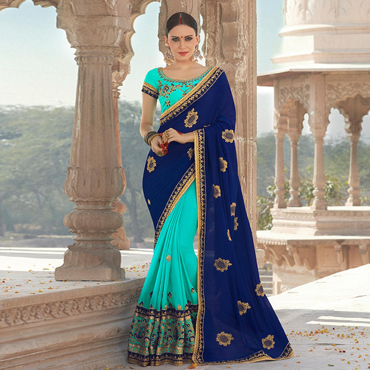 Traditional Sky Blue-Navy Blue Colored Designer Embroidered Festive Wear Georgette Silk Saree