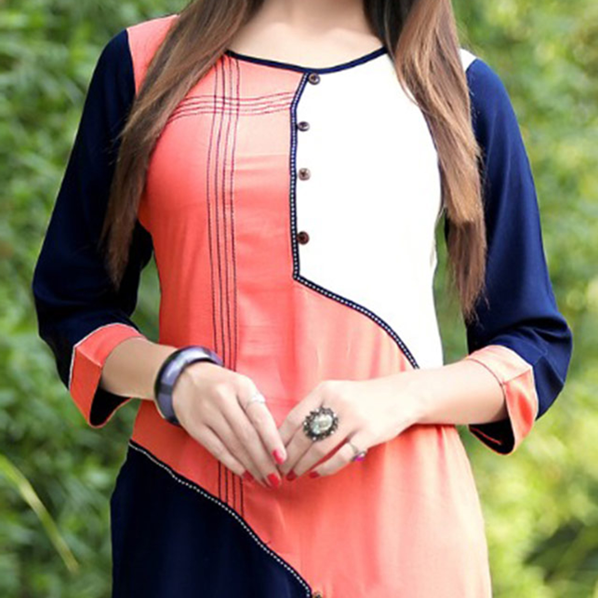Sweet peach Colored Fancy Rayon Kurti