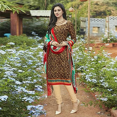 Brown Casual Wear Printed Cambric Cotton Dress Material
