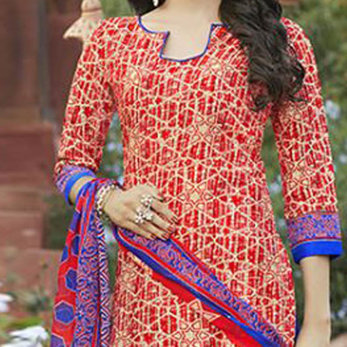Red - Blue Casual Wear Printed Cambric Cotton Dress Material