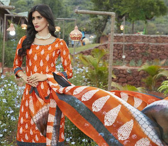 Orange Casual Wear Printed Cambric Cotton Dress Material