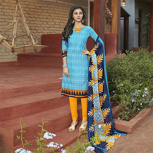 Sky Blue Casual Wear Printed Cambric Cotton Dress Material