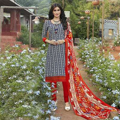 Blue - Red Casual Wear Printed Cambric Cotton Dress Material