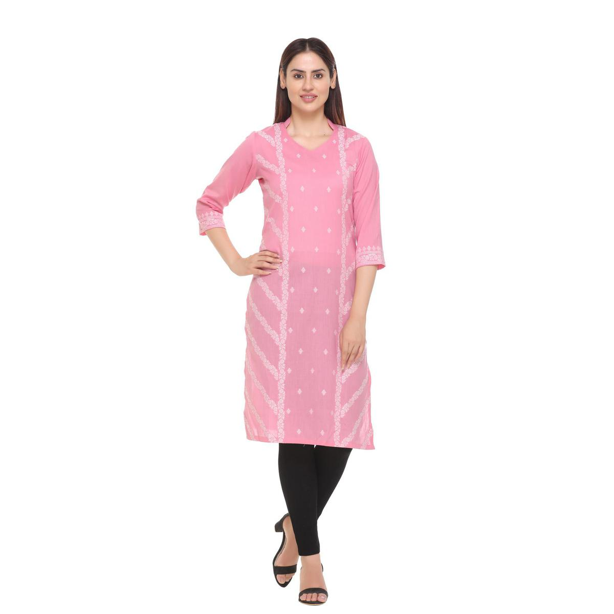 Safaa - Pink Cotton Woven Stitched Kurti For Summer