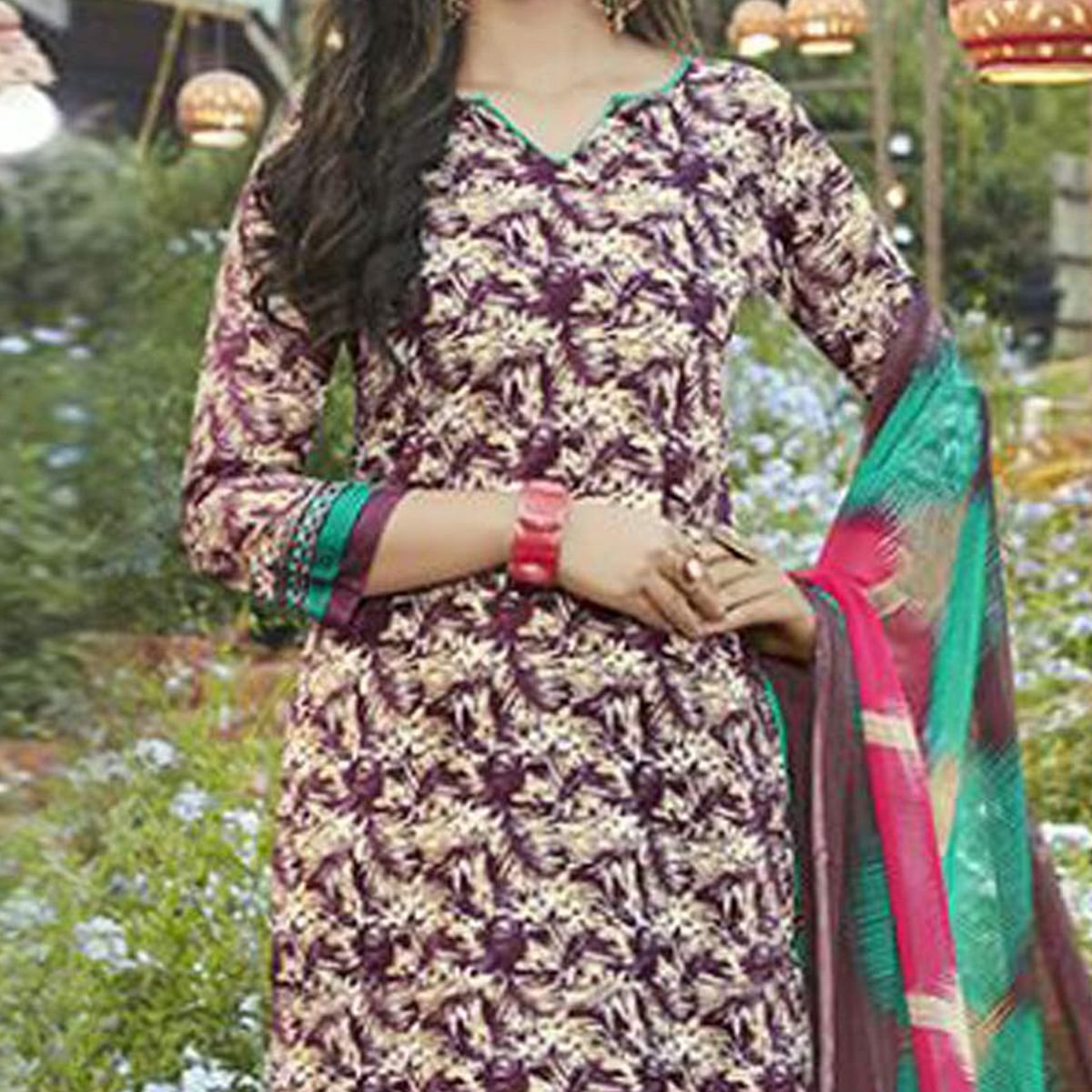 Beige - Purple Casual Wear Printed Cambric Cotton Dress Material
