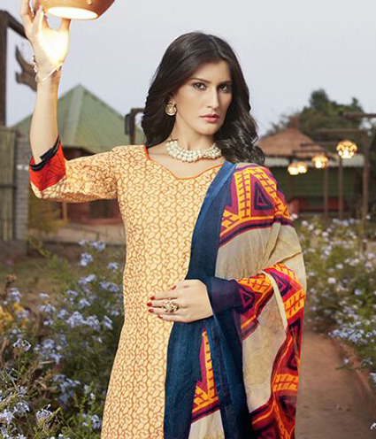 Beige - Orange Casual Wear Printed Cambric Cotton Dress Material