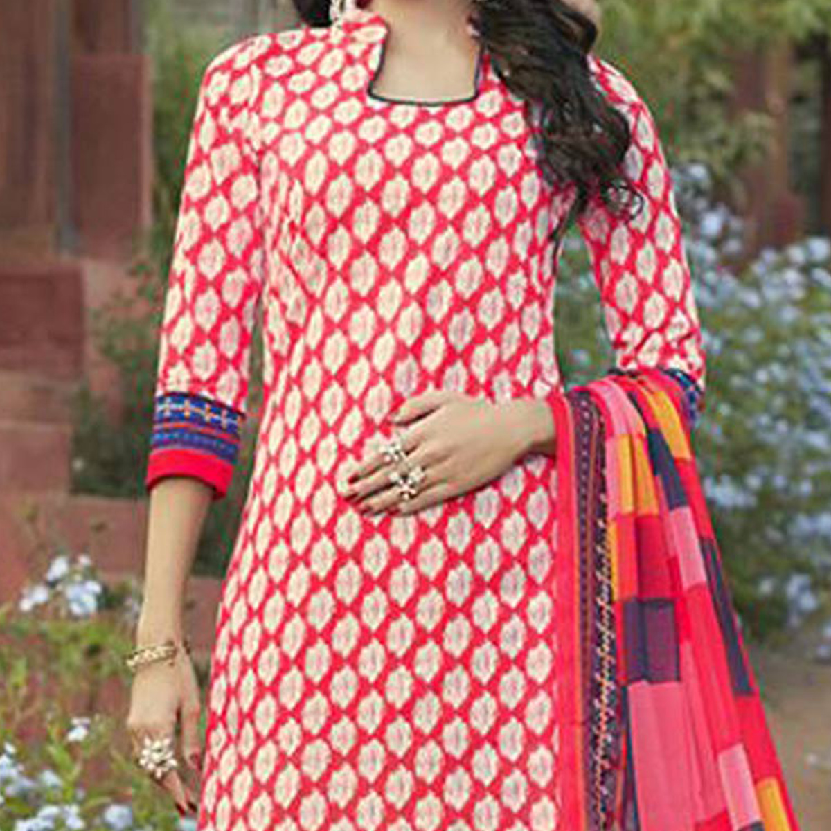 Red Casual Wear Printed Cambric Cotton Dress Material