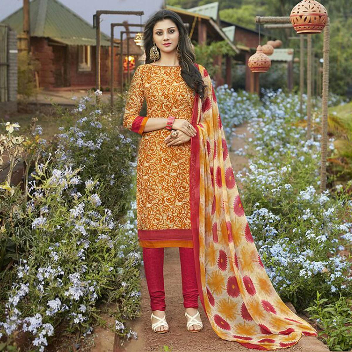 Mustard Yellow Casual Wear Printed Cambric Cotton Dress Material