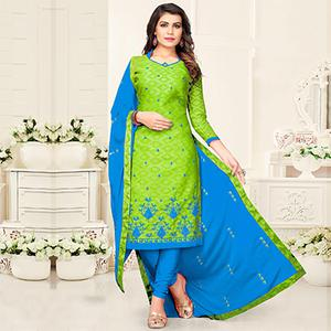Attractive Green - Blue Colored Partywear Cotton Suit