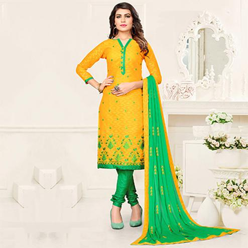 Vibrant Yellow - Green Colored Partywear Suit