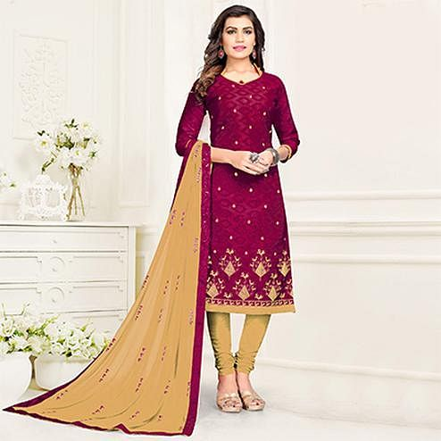 Royal Magenta - Beige Colored Partywear Cotton Suit