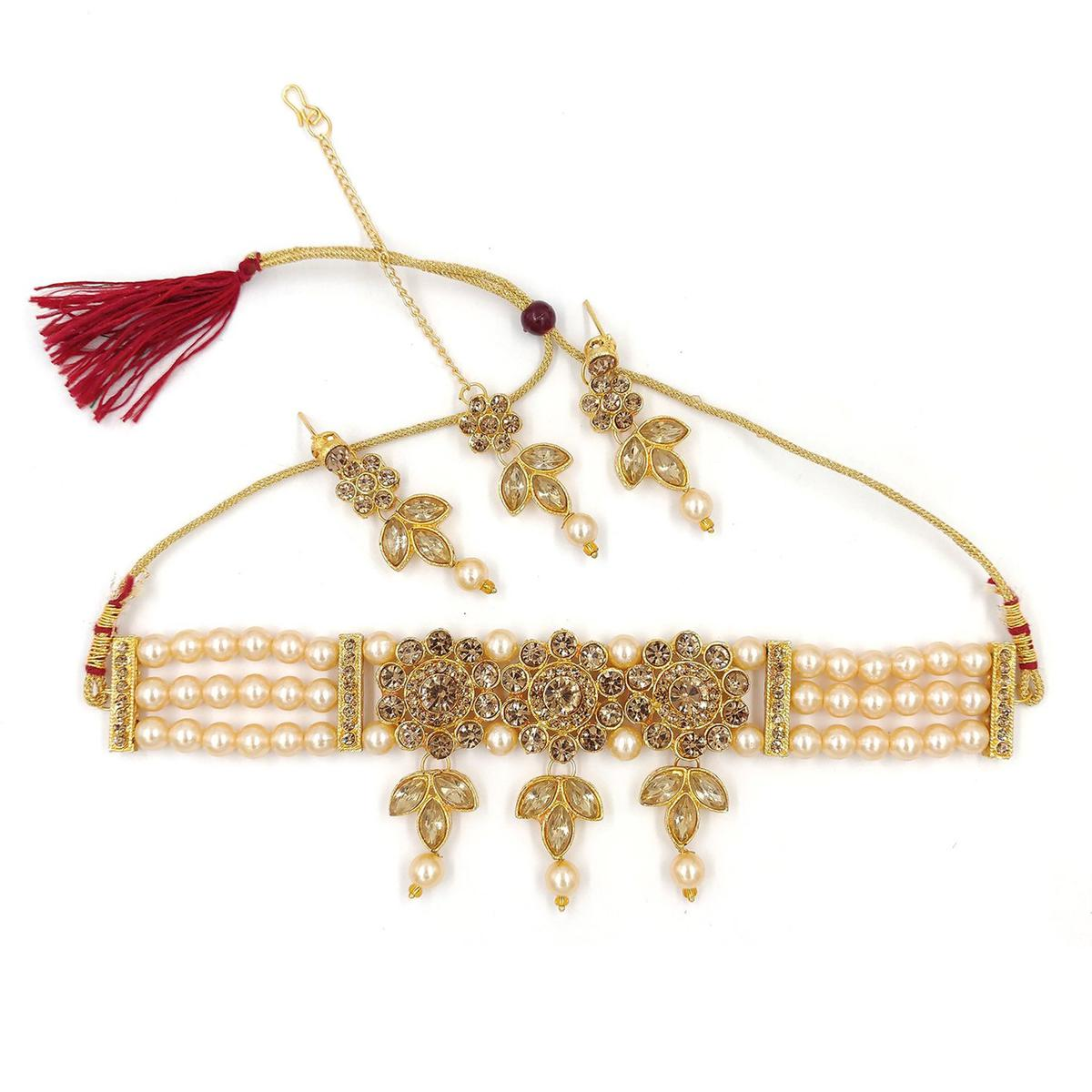 ZaffreCollections -  Stylish Multistrand Golden Beads Choker Necklace with Maang Tikka for Women and Girls