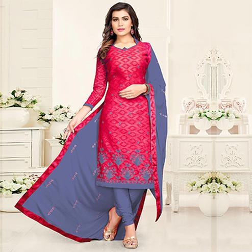 Classy Pink - Grey Colored Partywear Cotton Suit