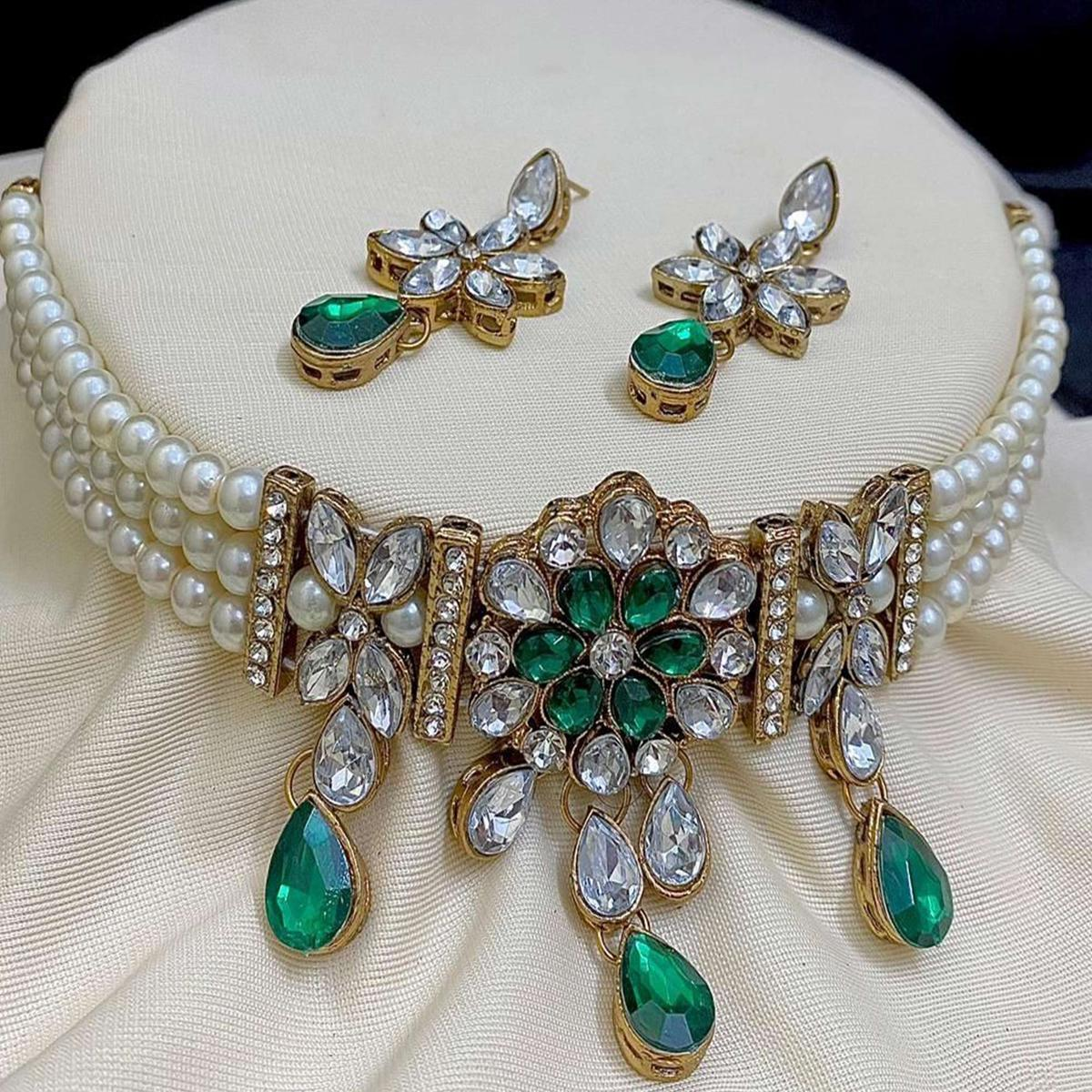 ZaffreCollections -  Trending Green Choker Necklace Set for Women and Girls