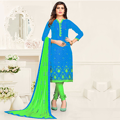 Glorious Blue - Green Colored Partywear Cotton Suit