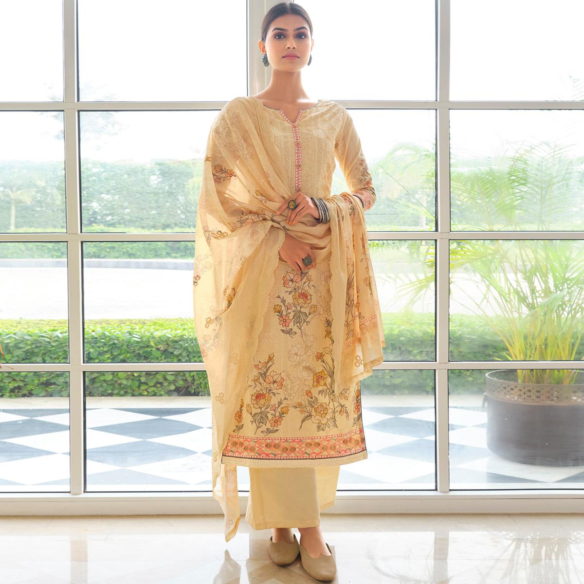 Stylee Lifestyle Yellow Colored Festive Wear Cotton Embroidered Dress Material