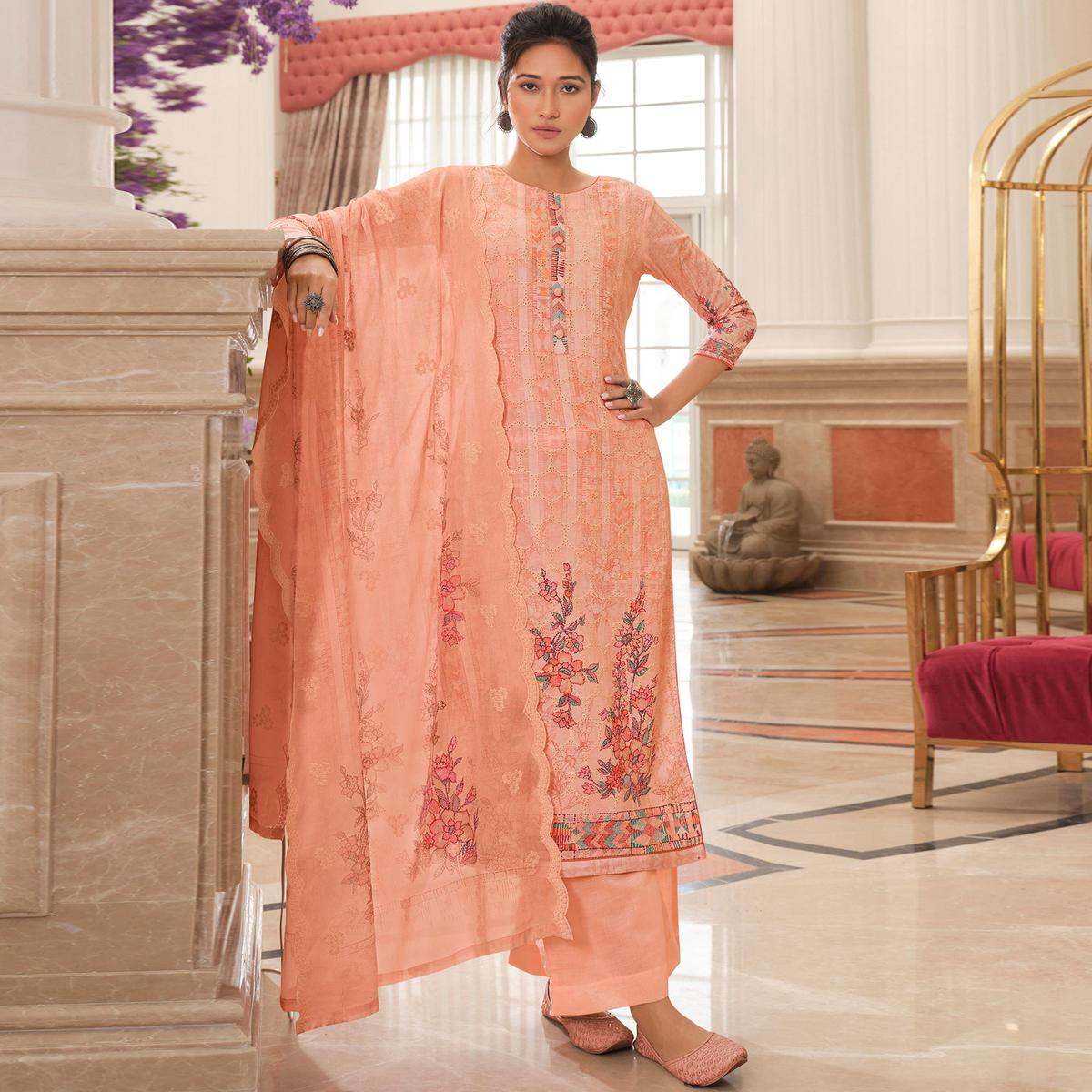 Stylee Lifestyle Pink Colored Festive Wear Cotton Embroidered Dress Material