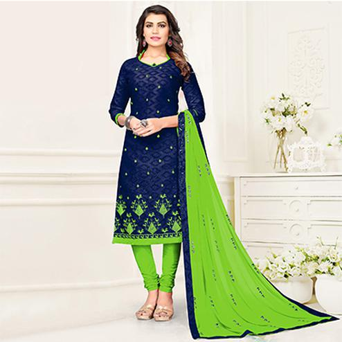 Eye-Catching Blue - Green Colored Partywear Suit