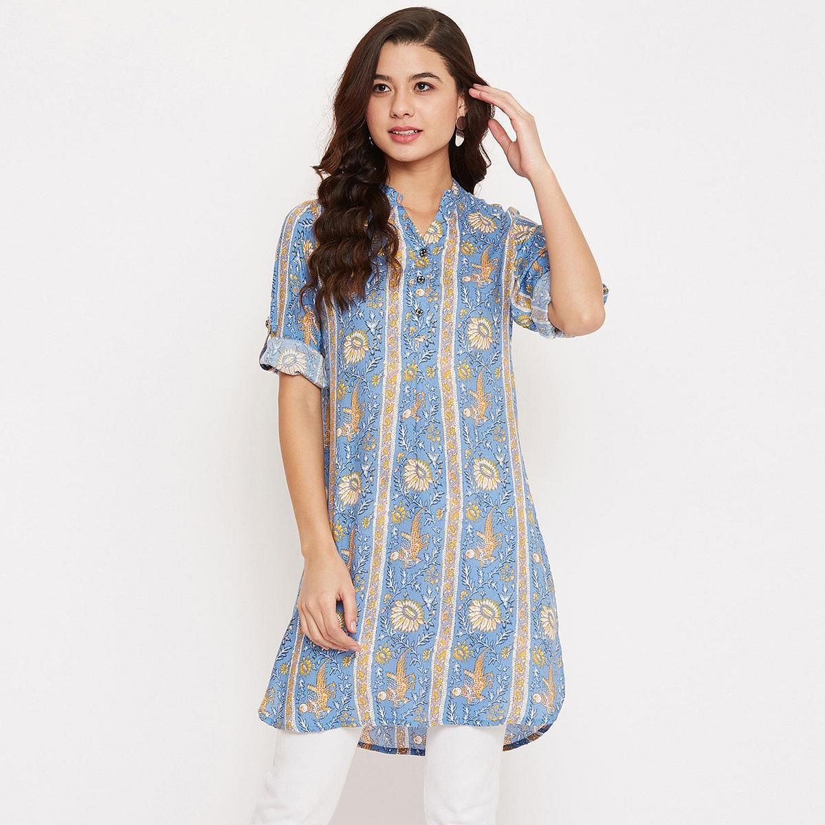 Ruhaan'S Womens Rayon Floral Blue Colored Tunic