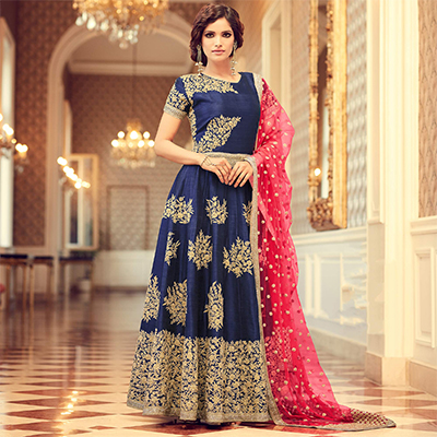 Dazzling Navy Blue Colored Designer Embroidered Partywear Silk Anarkali Suit