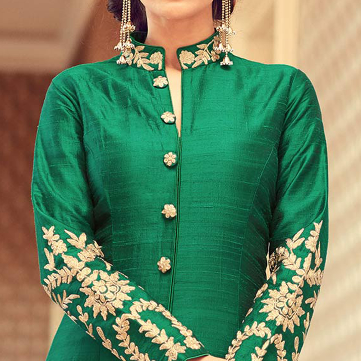 Beautiful Green Colored Designer Embroidered Partywear Silk Anarkali Suit