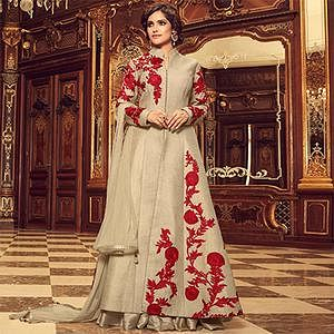 Royal Beige Colored Designer Embroidered Partywear Silk Lehenga Kameez