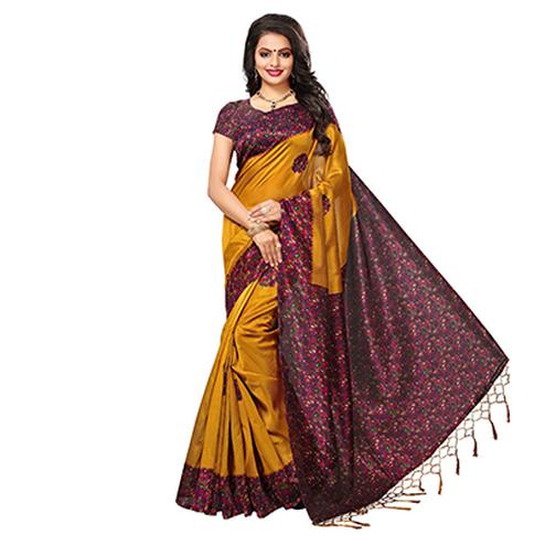 Yellow-Maroon Festive Wear Kalamkari Printed Art Silk Saree With Tassels
