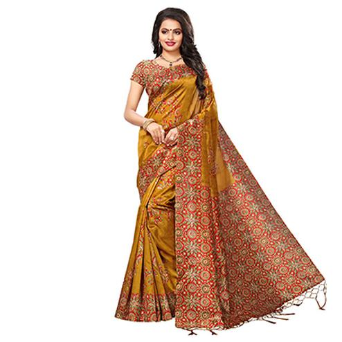 Yellow Festive Wear Kalamkari Printed Art Silk Saree With Tassels