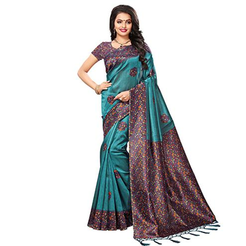 Turquoise Blue Festive Wear Kalamkari Printed Art Silk Saree With Tassels