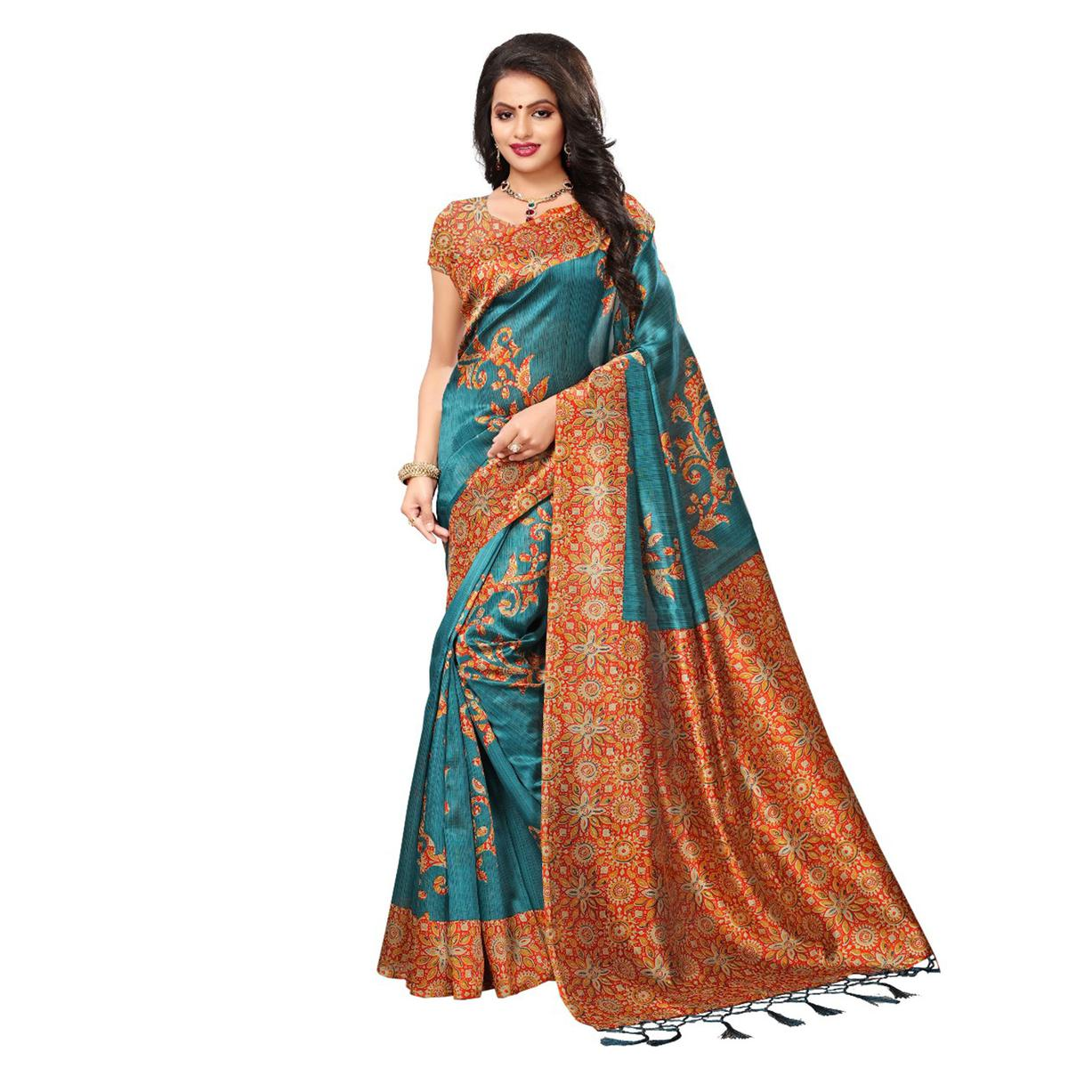 Turquoise Blue-Orange Festive Wear Kalamkari Printed Art Silk Saree With Tassels