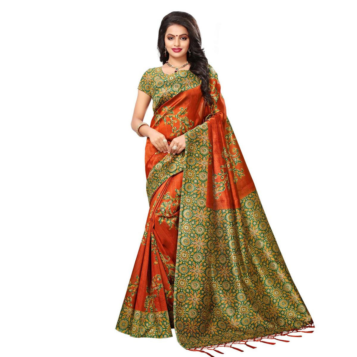 Orange Festive Wear Kalamkari Printed Art Silk Saree With Tassels