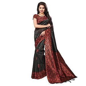 Black Festive Wear Kalamkari Printed Art Silk Saree With Tassels