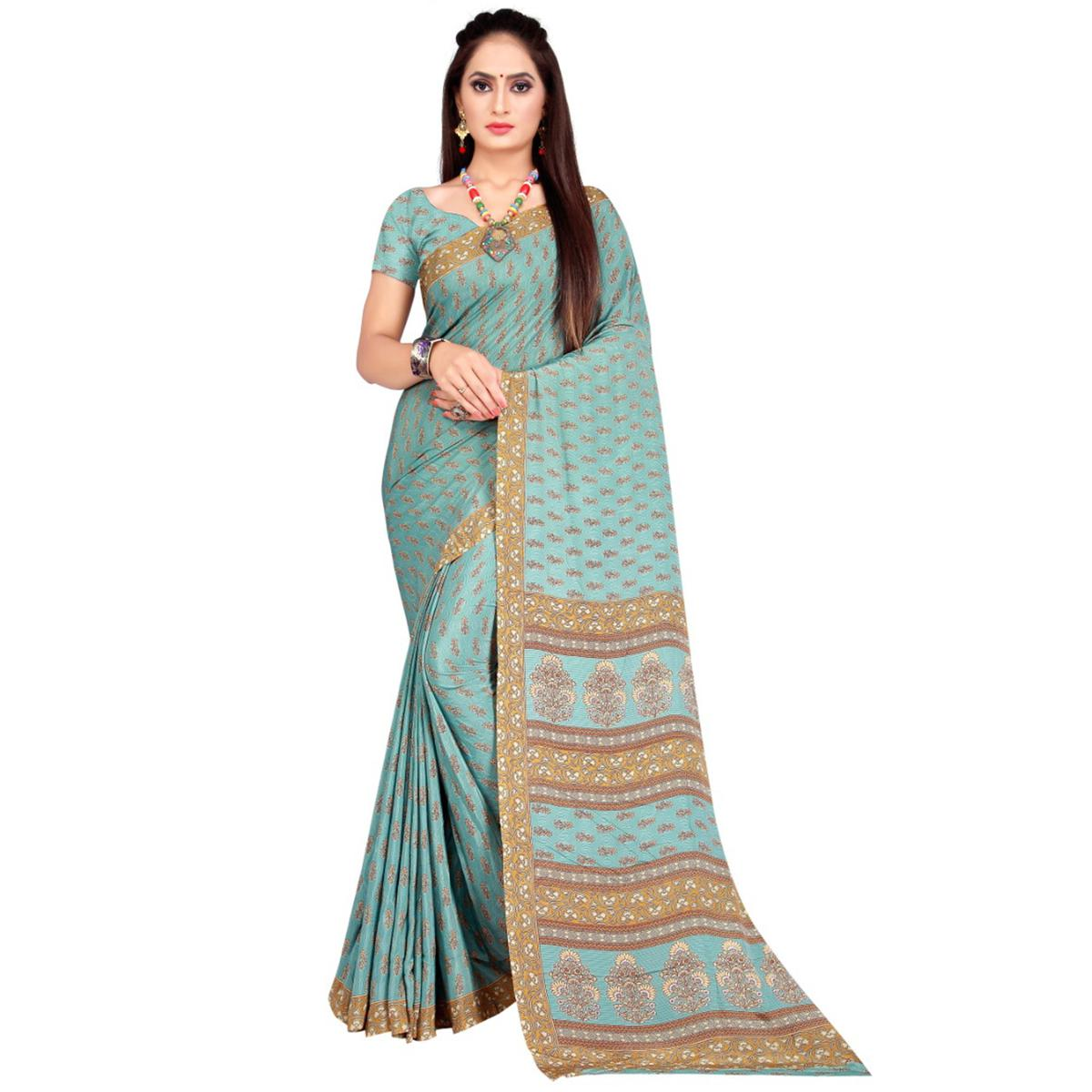 Entrancing Sky Blue Coloured Casual Wear Printed French Crepe Silk Saree
