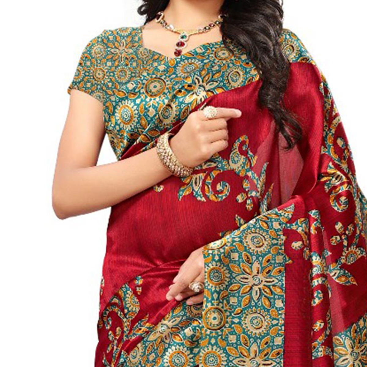 Red Festive Wear Kalamkari Printed Art Silk Saree With Tassels