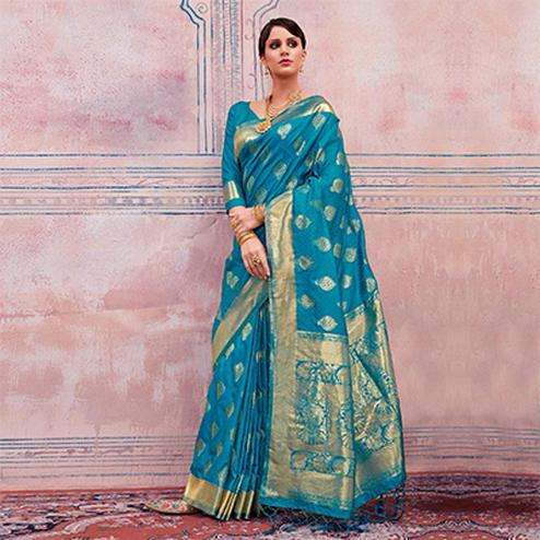 Amazing Blue Colored Festive Wear Silk Saree