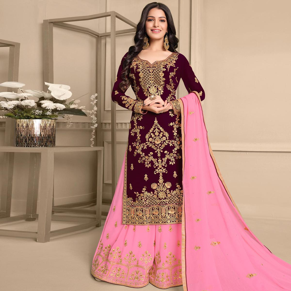 Stylee Lifestyle Wine Colored Georgette Embroidered Dress Material