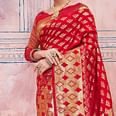 Ravishing Deep Red Colored Festive Wear Silk Saree