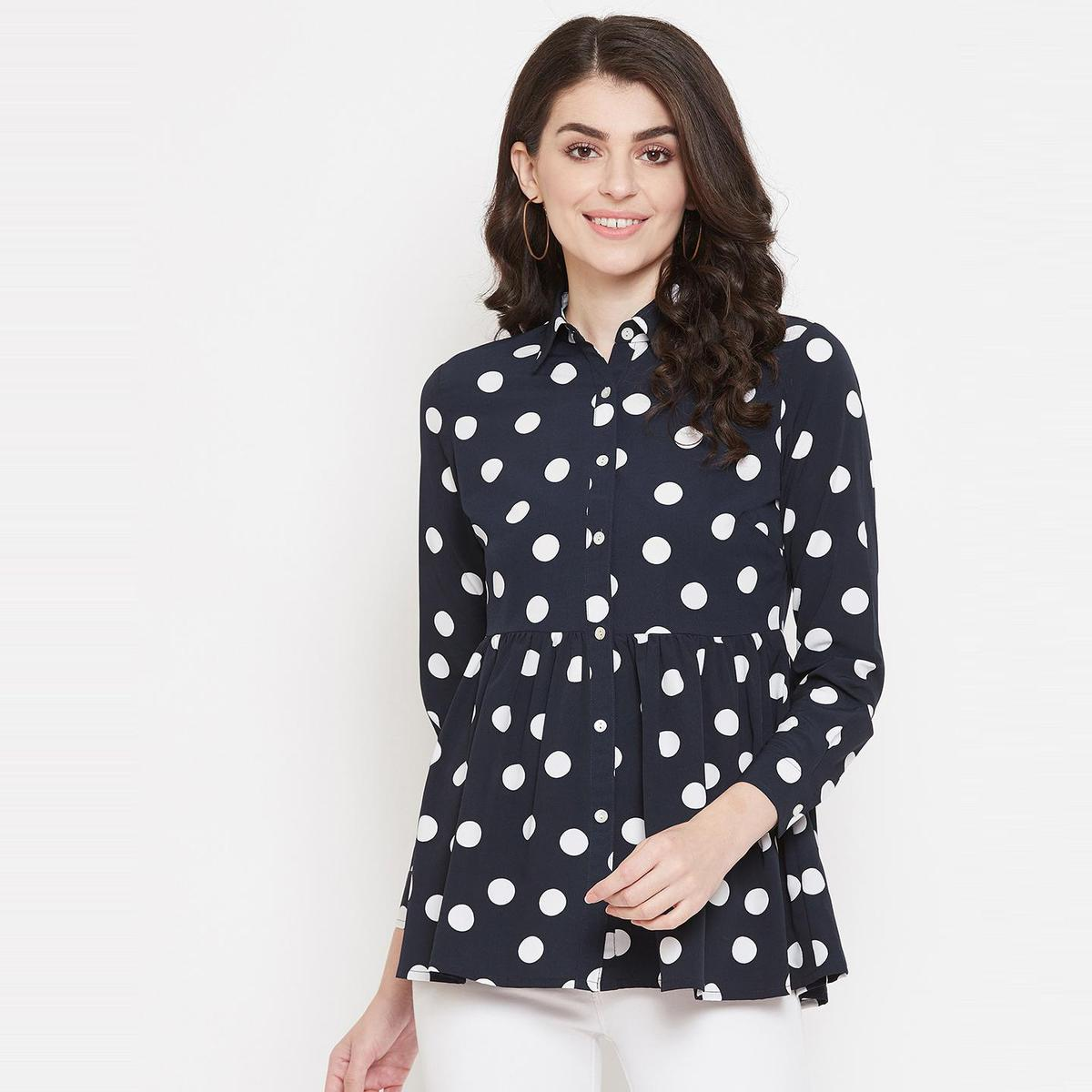Ruhaan'S Womens Polycrepe Polka Dot Navy Blue Colored Top