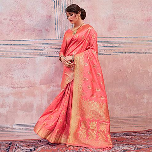 Ravishing Peach Colored Festive Wear Silk Saree