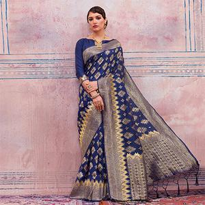 Charming Navy Blue Colored Festive Wear Silk Saree