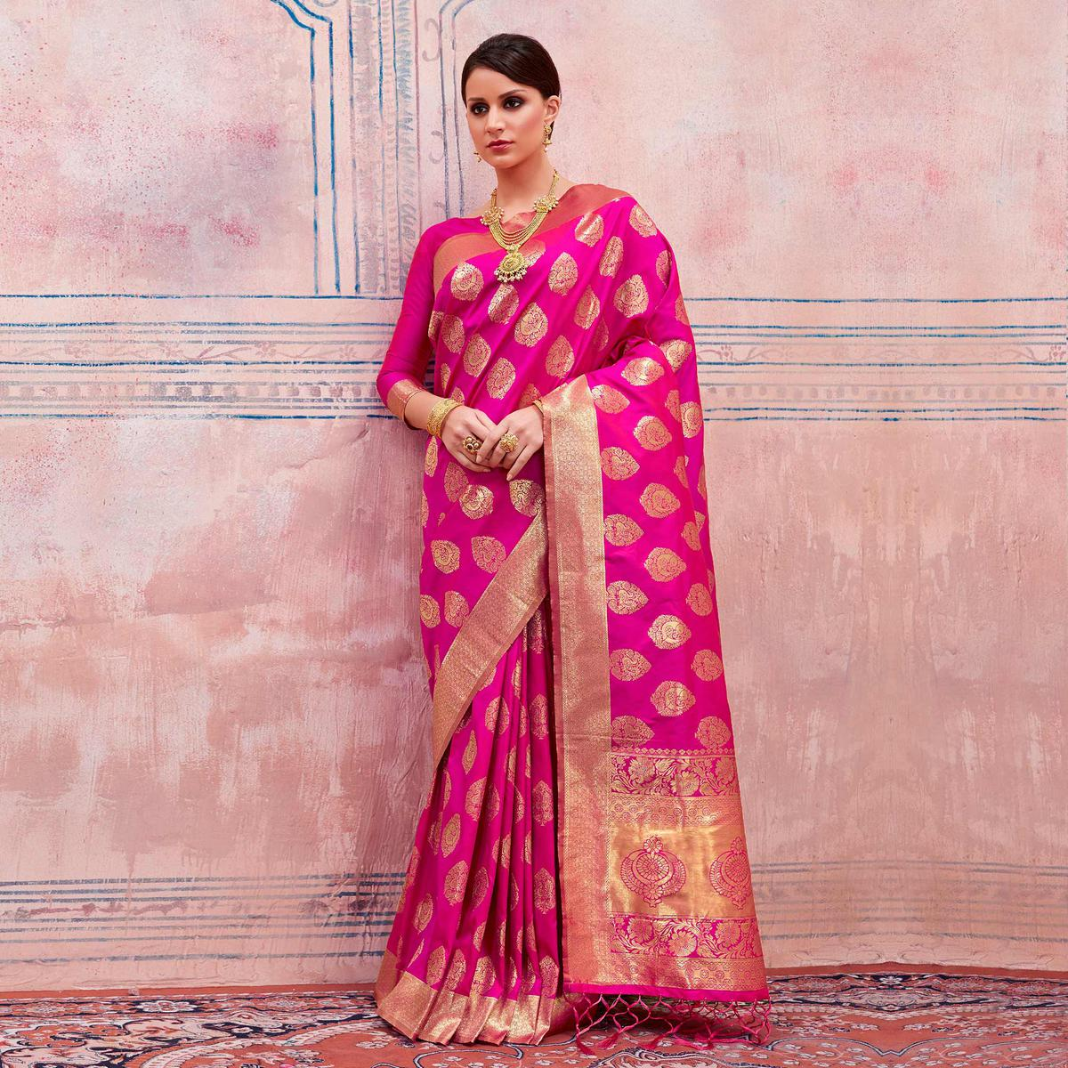 Lovely Pink Colored Festive Wear Silk Saree
