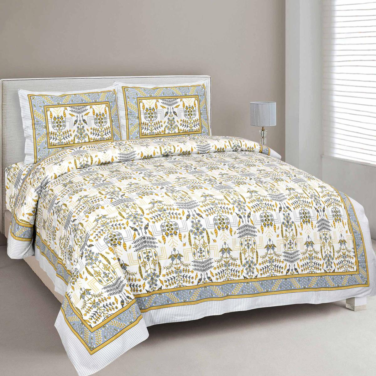 Jaipur Fabric Pure Cotton Artistic Modern Green Mustard Jaipuri Double Bedsheet with 2 Pillow Cover