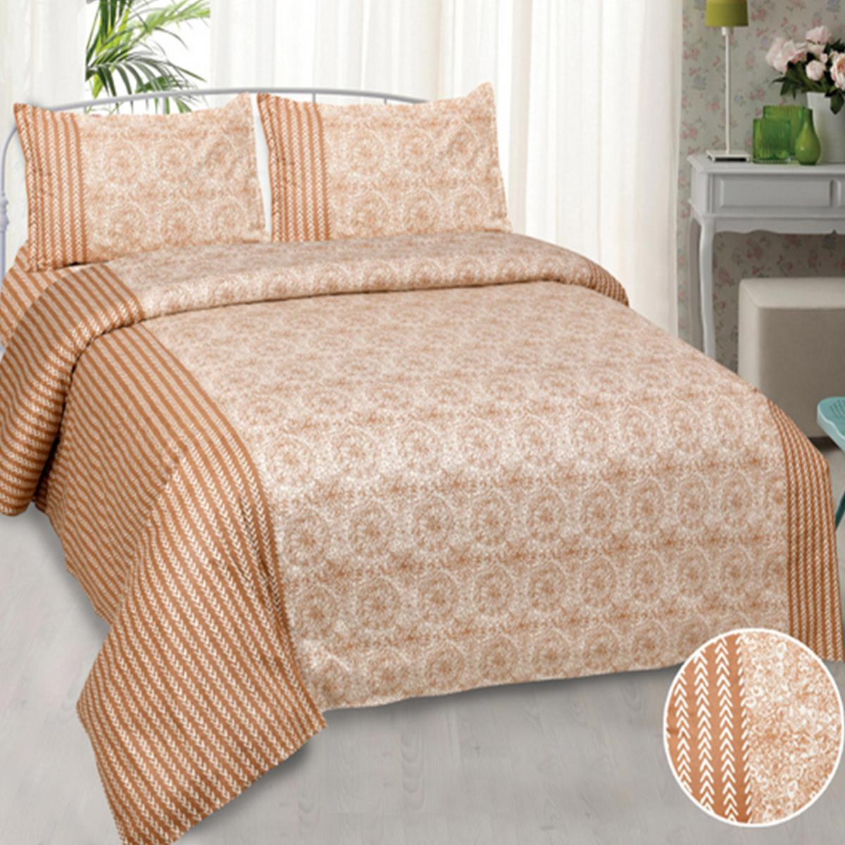 Jaipur Fabric Amazing Creamish Sunflower Pure Cotton King Size Double Bedsheet with 2 Pillow Cover
